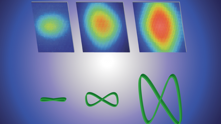A rendering of how changes in an electron's motion (bottom view) alter the scattering of light (top view), as measured in a new experiment that scattered more than 500 photons of light from a single electron. Previous experiments had managed to scatter no more than a few photons at a time. Credit: Extreme Light Laboratory|University of Nebraska-Lincoln